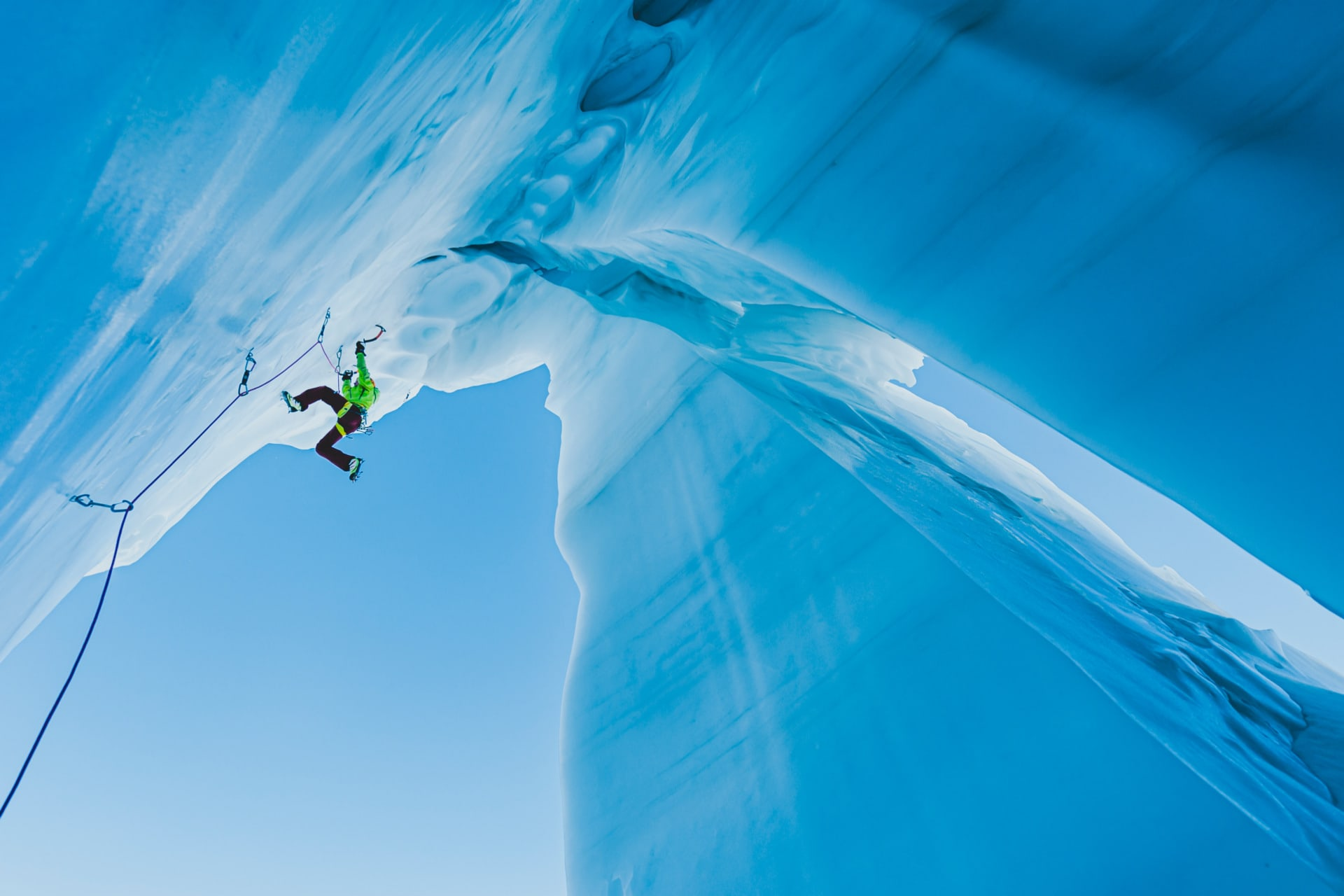 INES PAPERT CLIMBING IN THE GLACIER FROM AGENTIERE