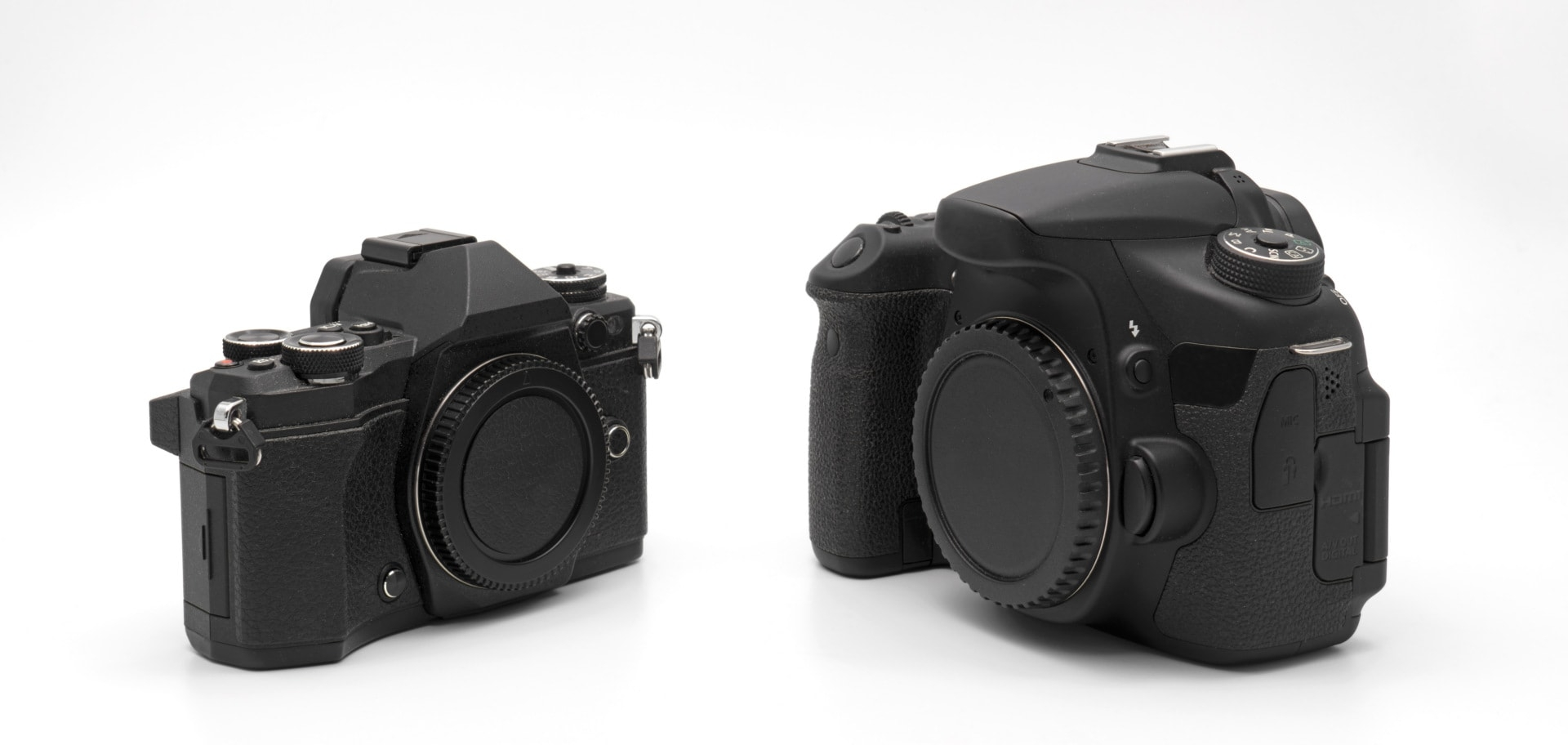 Spiegellose Kamera und Spiegelreflexkamera